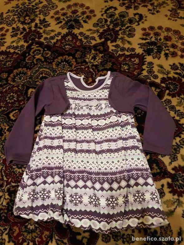 fioletowa sukienka z bolerkiem rozm 86
