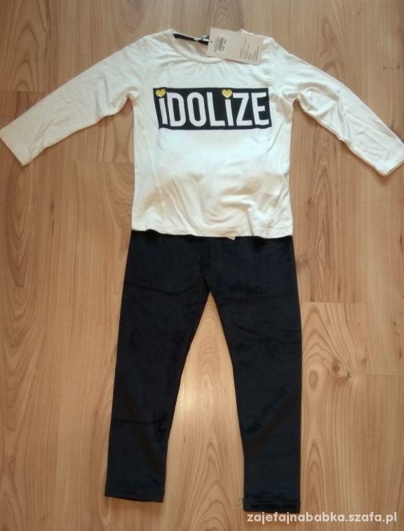 Nowy komplet biała bluzka z długim rękawem i getry