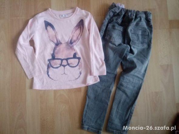 zestaw spodnie rurki bluzeczki 104 królik