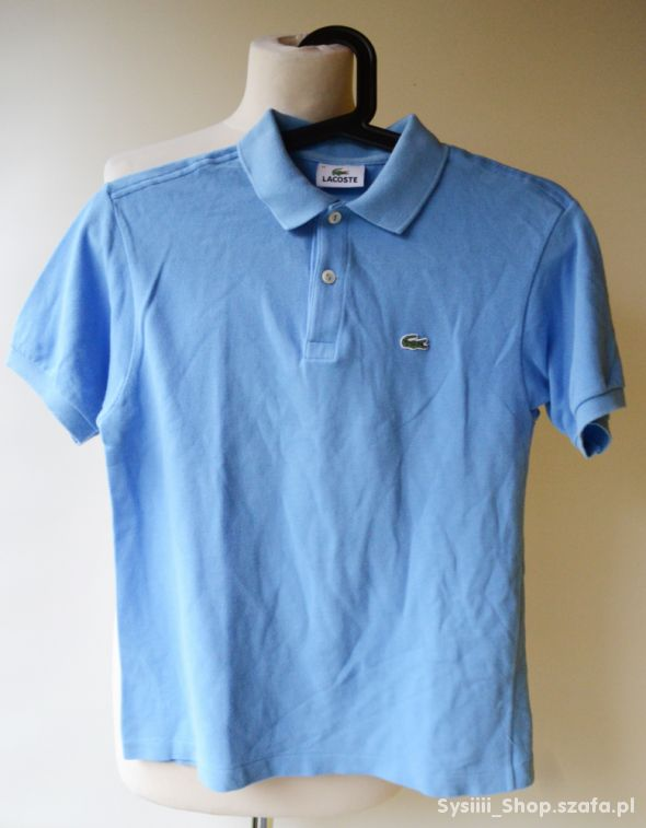 Polo Niebieskie Lacoste 14 lat 164 cm T Shirt Błęk