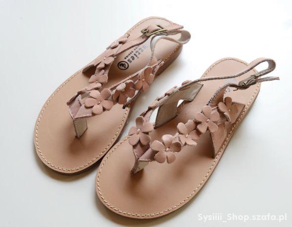 Sandały NOWE Japonki 26 Kwiatki Skóra Skórzane 16
