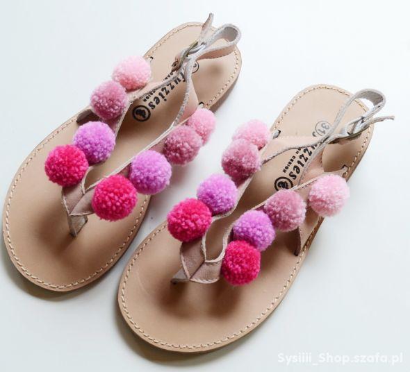 Sandały NOWE Japonki 31 Pompony 195 cm Boho Skóra