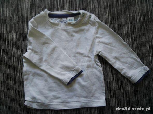 Biała bawełniana bluzka niemowlęca długi rękaw 62