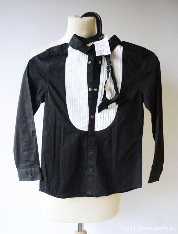 Koszula H&M Nowa 128 cm 7 8 lat Czarna Mucha Biała