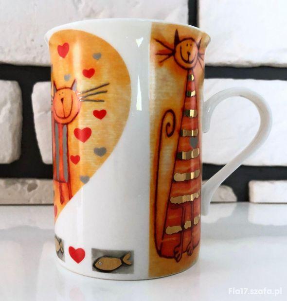 DUO kubek pomarańczowy kot koty kotek serce BDB