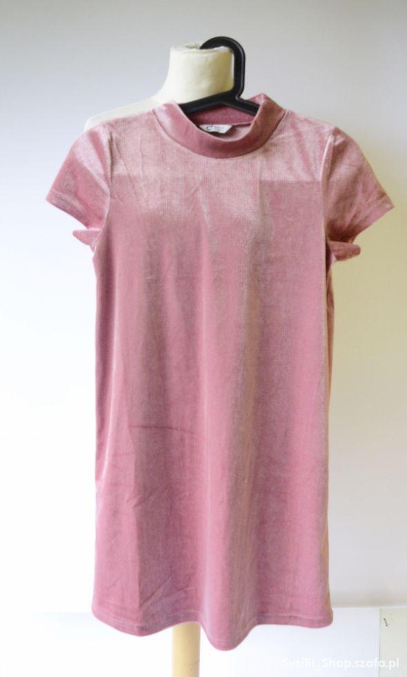 Sukienka Welurowa Różowa Welur Cubus 158 164 13 14