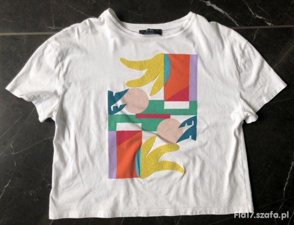 Bershka t shirt crop top oversize nadruk XS 34 BDB