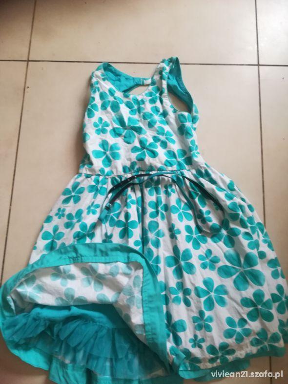 Sukienka elegancka wizytowa 146 kwiaty pasek C&A l
